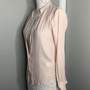 H&M Light Pink Button up polyester tunic blouse